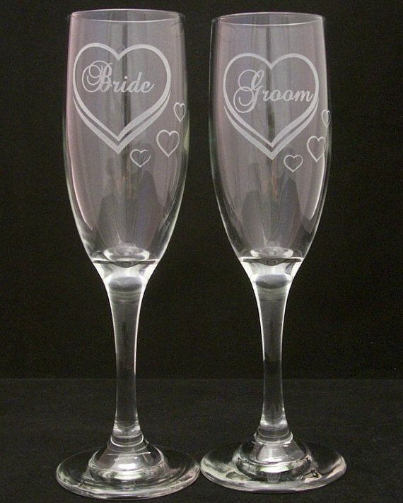 Bride Groom Etched Hearts Wedding Toasting Glasses