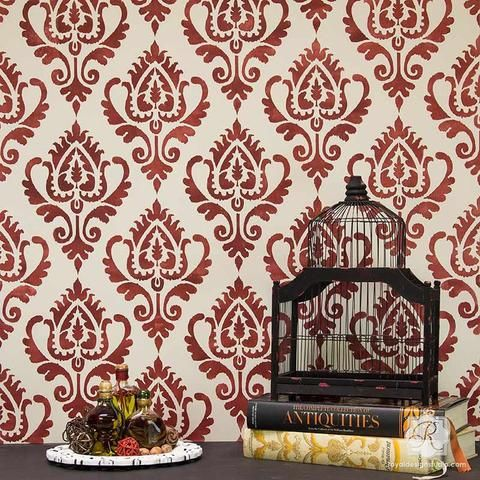 Ikat Stencil Pattern for Painting Walls and Furniture - Royal