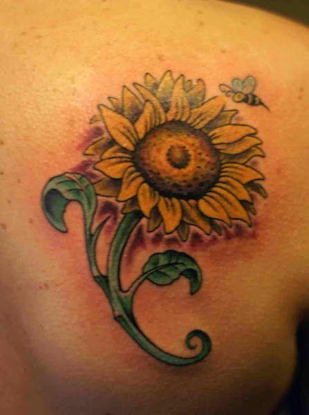 sunflower tattoo for back shoulder