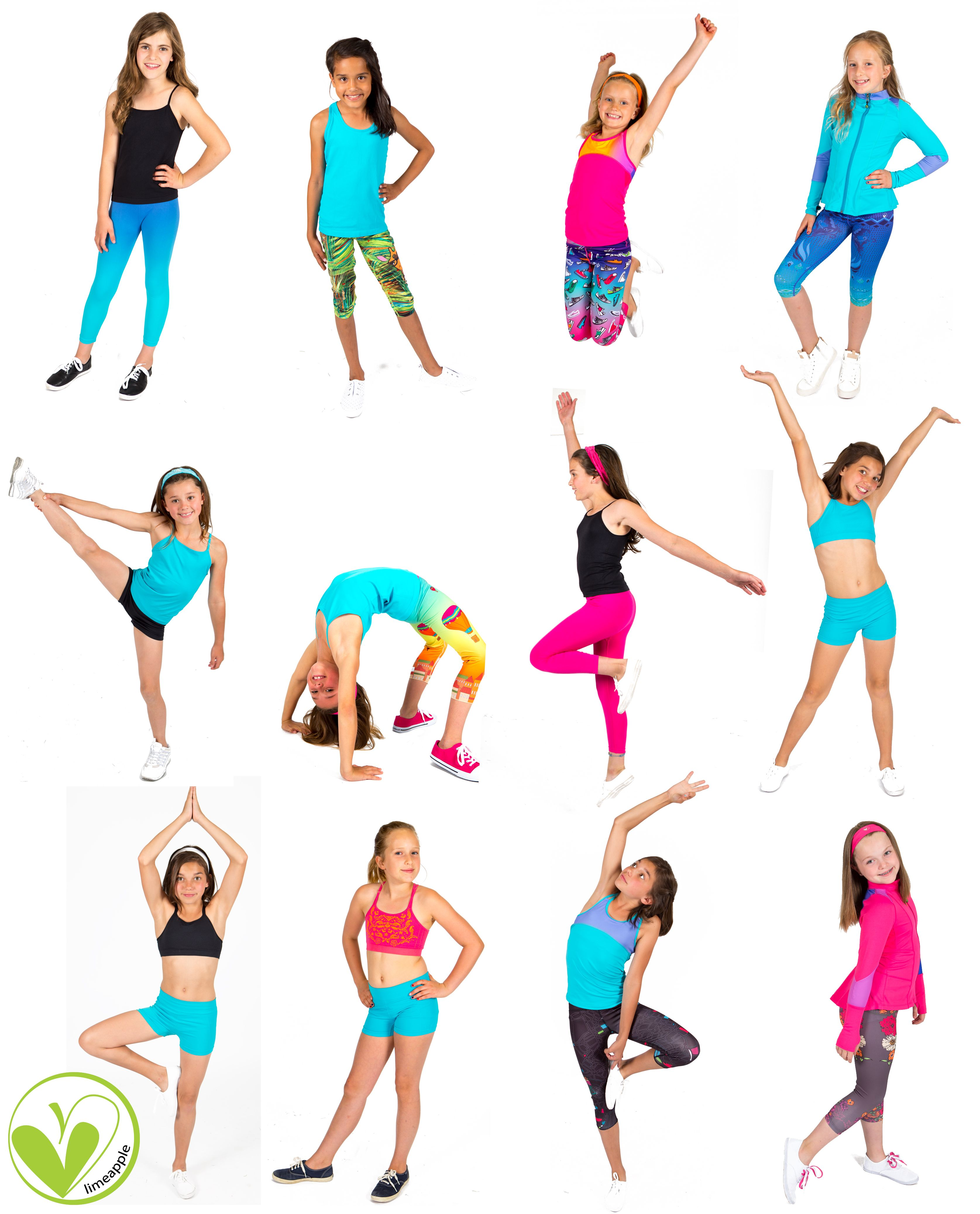Comfortable and stylish girls activewear from Limeapple's new 2017 spring line!