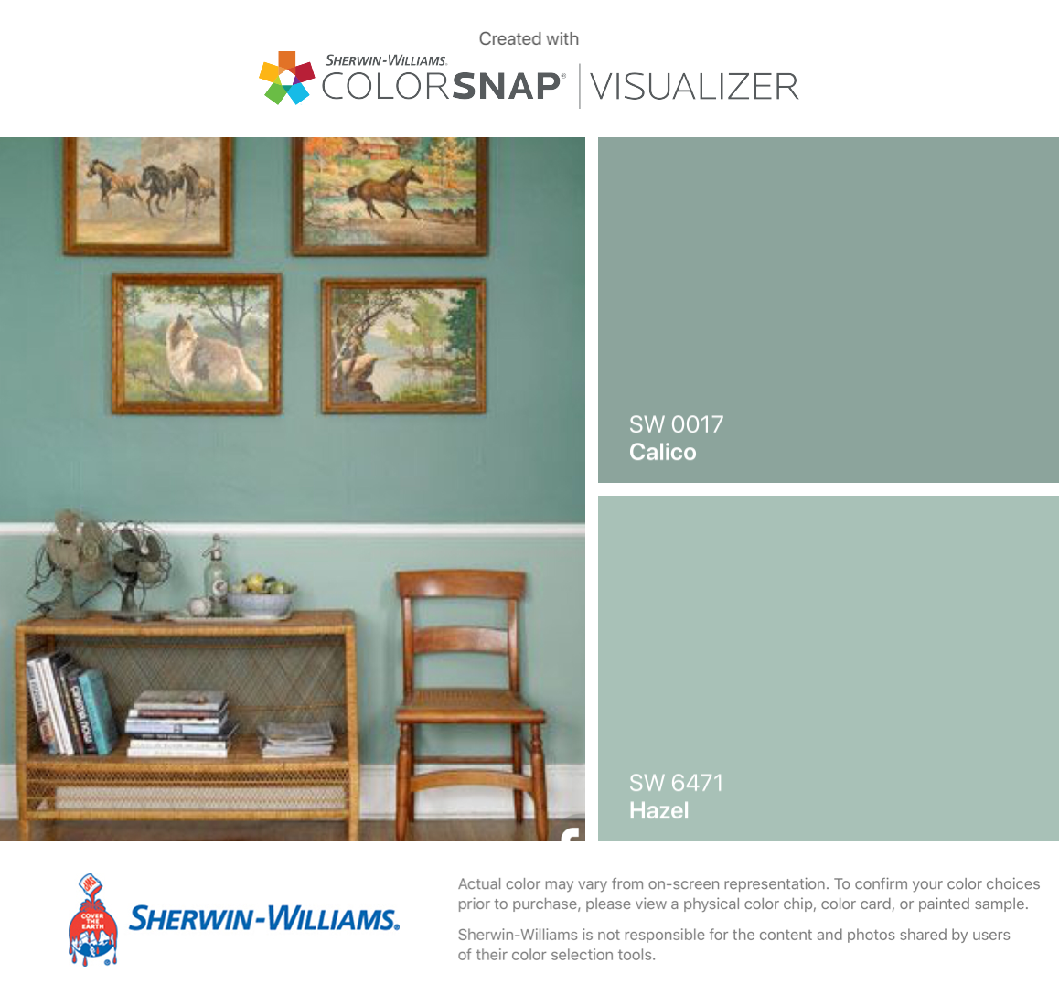 I found these colors with ColorSnap® Visualizer for iPhone by Sherwin-Williams: Calico (SW 0017), Hazel (SW 6471). #indoorpaintcolors