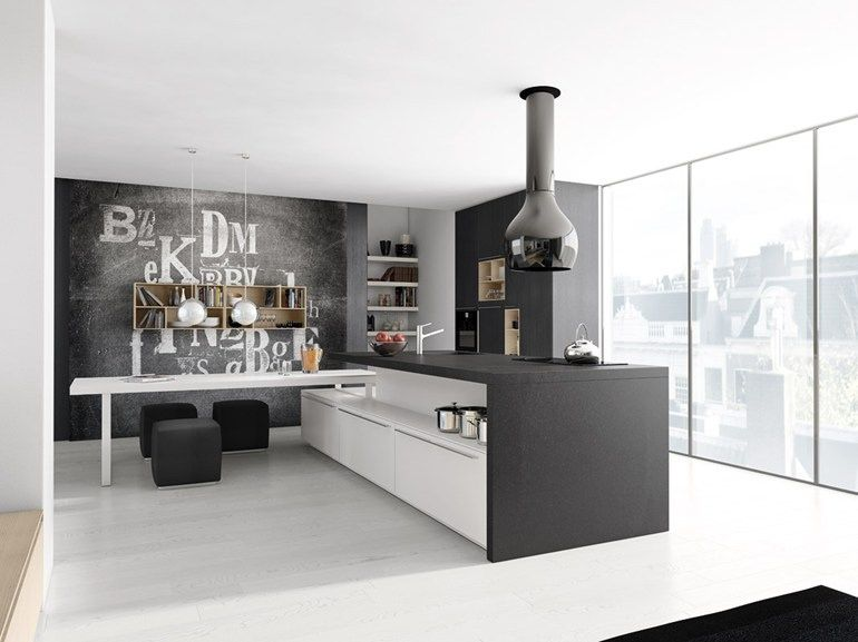 Kitchenpretty Black White Kitchen Interior Countertop Cabinet Bay Pleasing Black And White Kitchens Designs Design Ideas