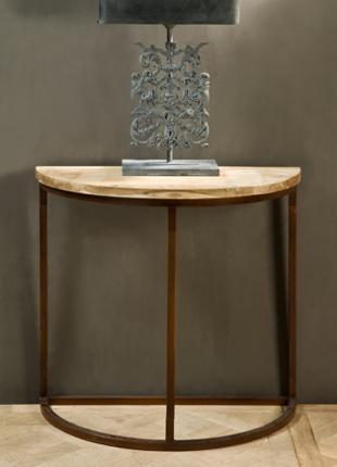 Autumn-Elle Design - DEMILUNE TABLE W/IRON BASE, $800.00 (http://autumn-elledesign.com/demilune-table-w-iron-base/)