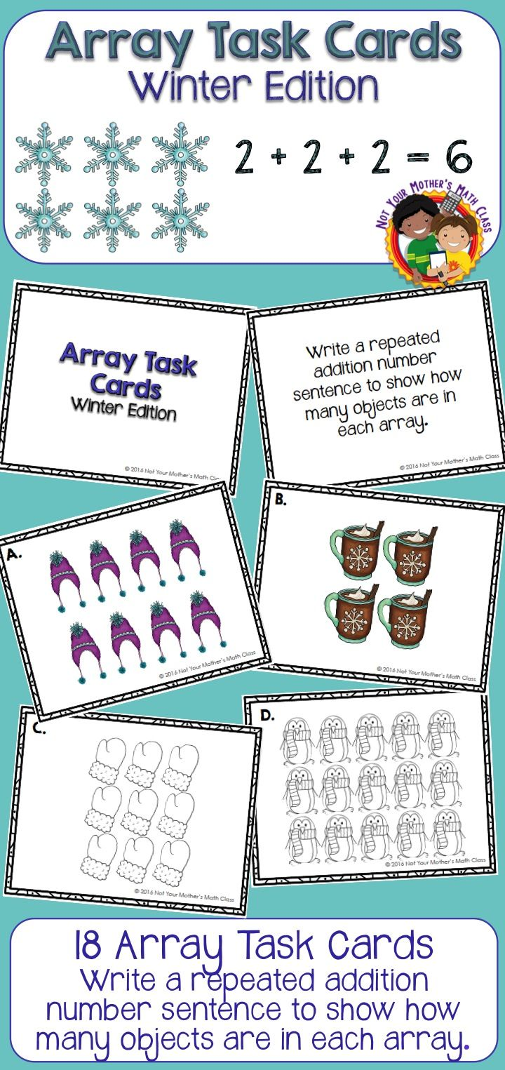 Array Task Cards (Winter) | Multiplication, Cards and Math