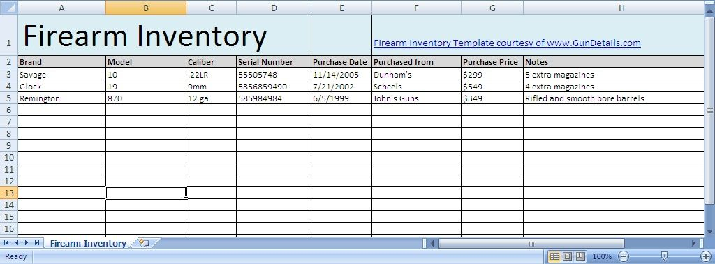 Ammo Inventory Spreadsheet u2013 Free Download (link - inventory sheet template free download