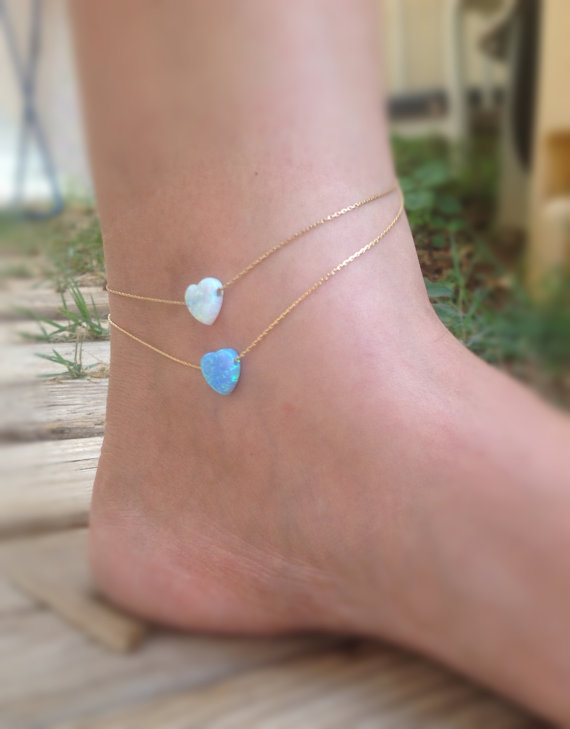 Dainty Opal anklet 0f4c9ea6f855