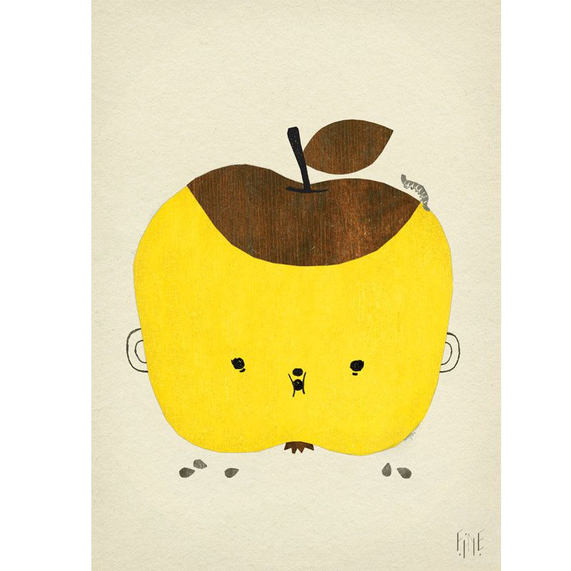 """Skøn æble plakat """"Apple Papple Poster"""" fra Fine Little Day med det sødeste udtryk man ikke kan stå for. Bestil direkte her - billig fragt - hurtig levering."""