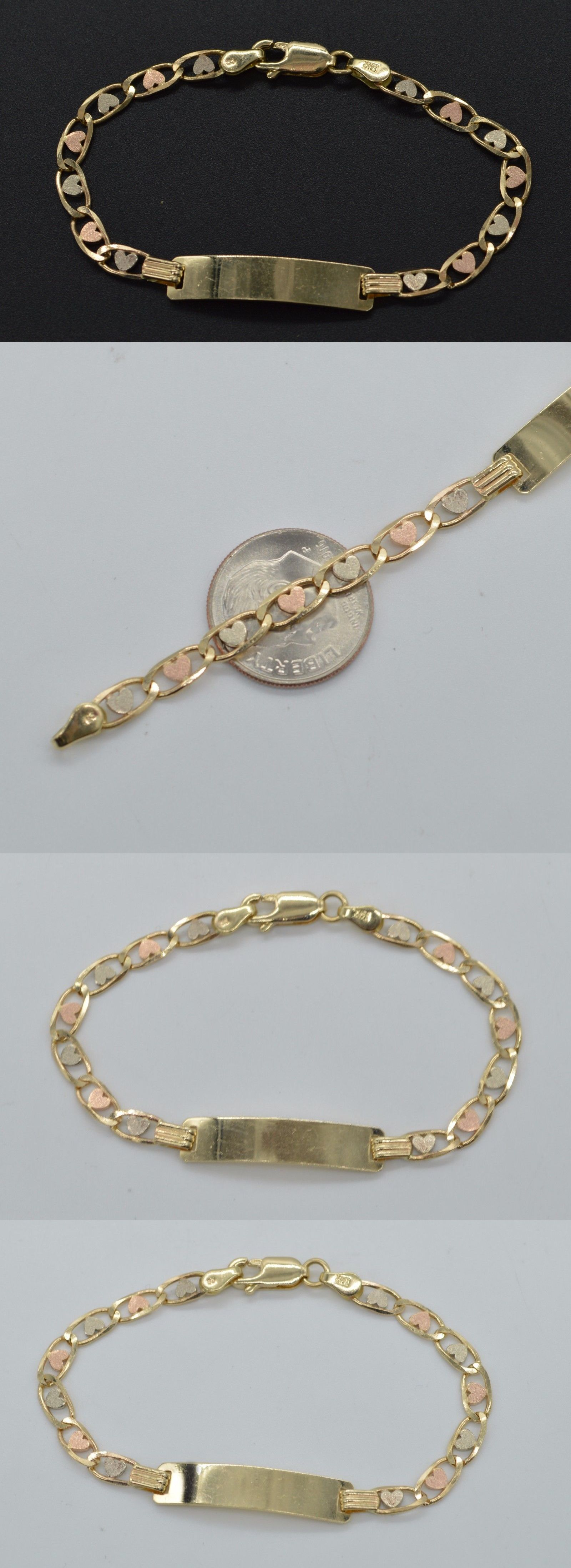 Bracelets as k tricolor solid heart gold id chain