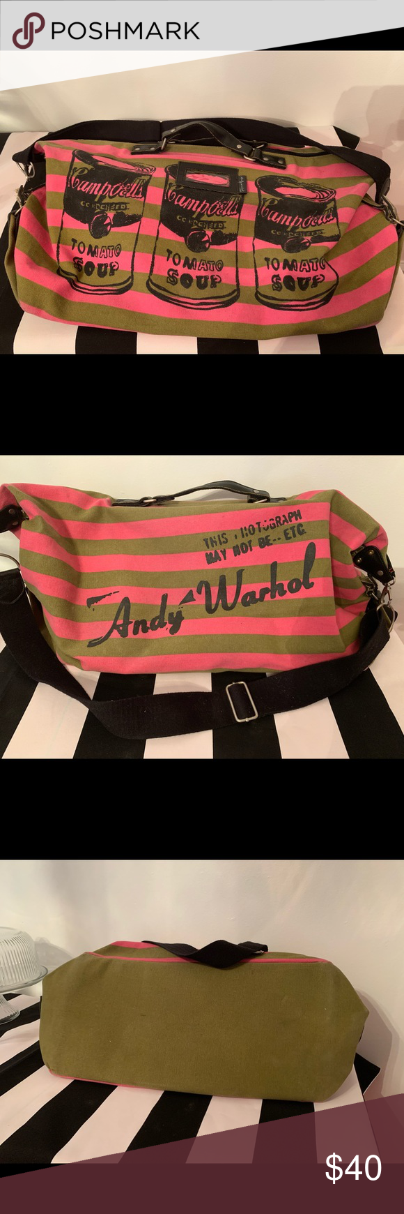 Vintage Andy Warhol Campbell S Soup Travel Bag In 2020 Andy Warhol Campbell Soup Bags