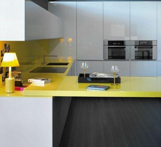 Encimera amarilla | Architektura | Pinterest | Amarillo, Cocina ...