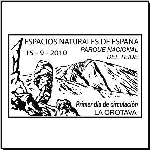 Matasellos del Parque Nacional del Teide de la serie Espacios Naturales de España. 15/09/2010. La Orotava, Tenerife. Islas Canarias