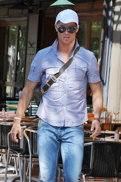 Cristiano Ronaldo Button Down Shirt - Cristiano paired his blue plaid shirt  with a white baseball cap. f74ee424b