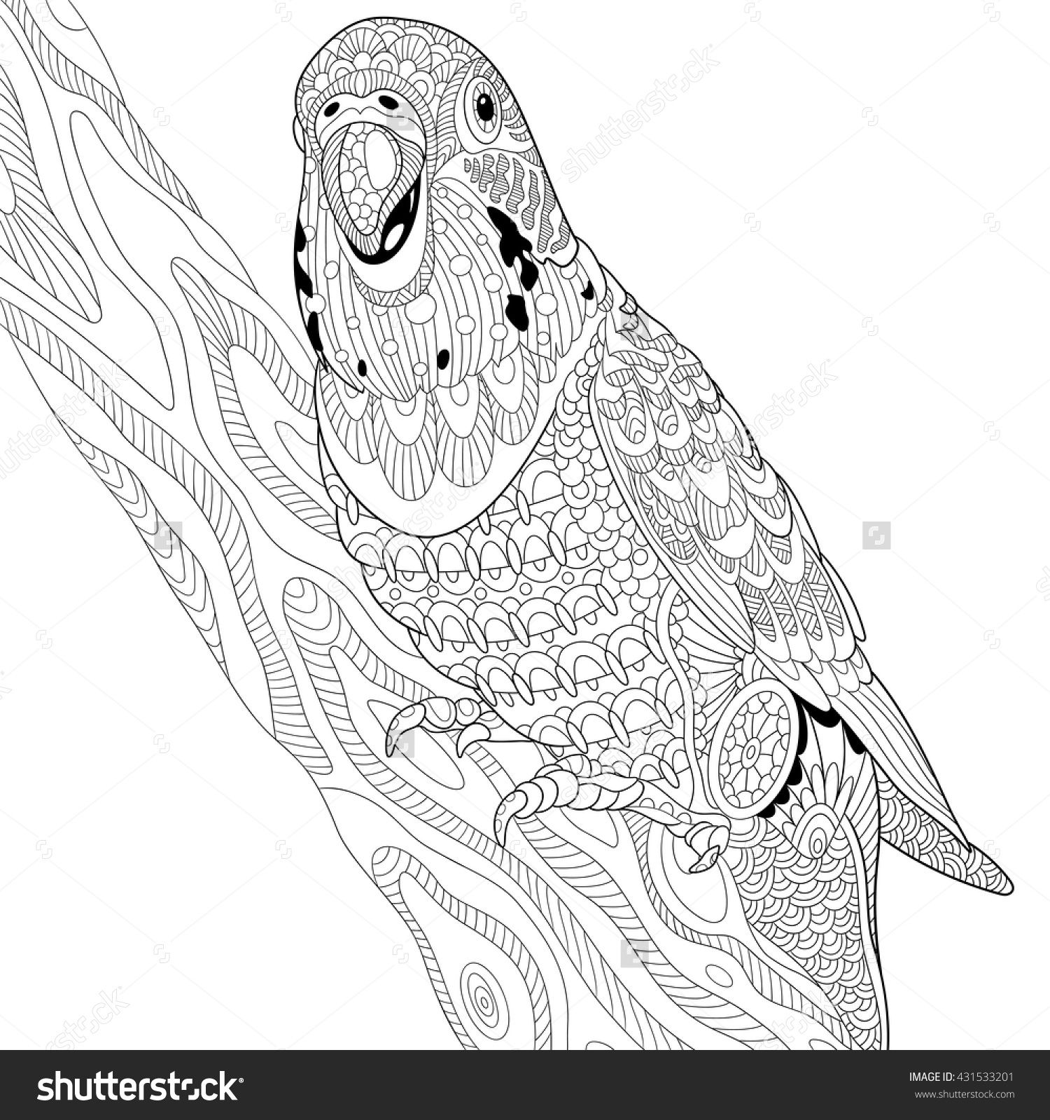 zentangle stylized cartoon budgie parrot sitting on tree branch