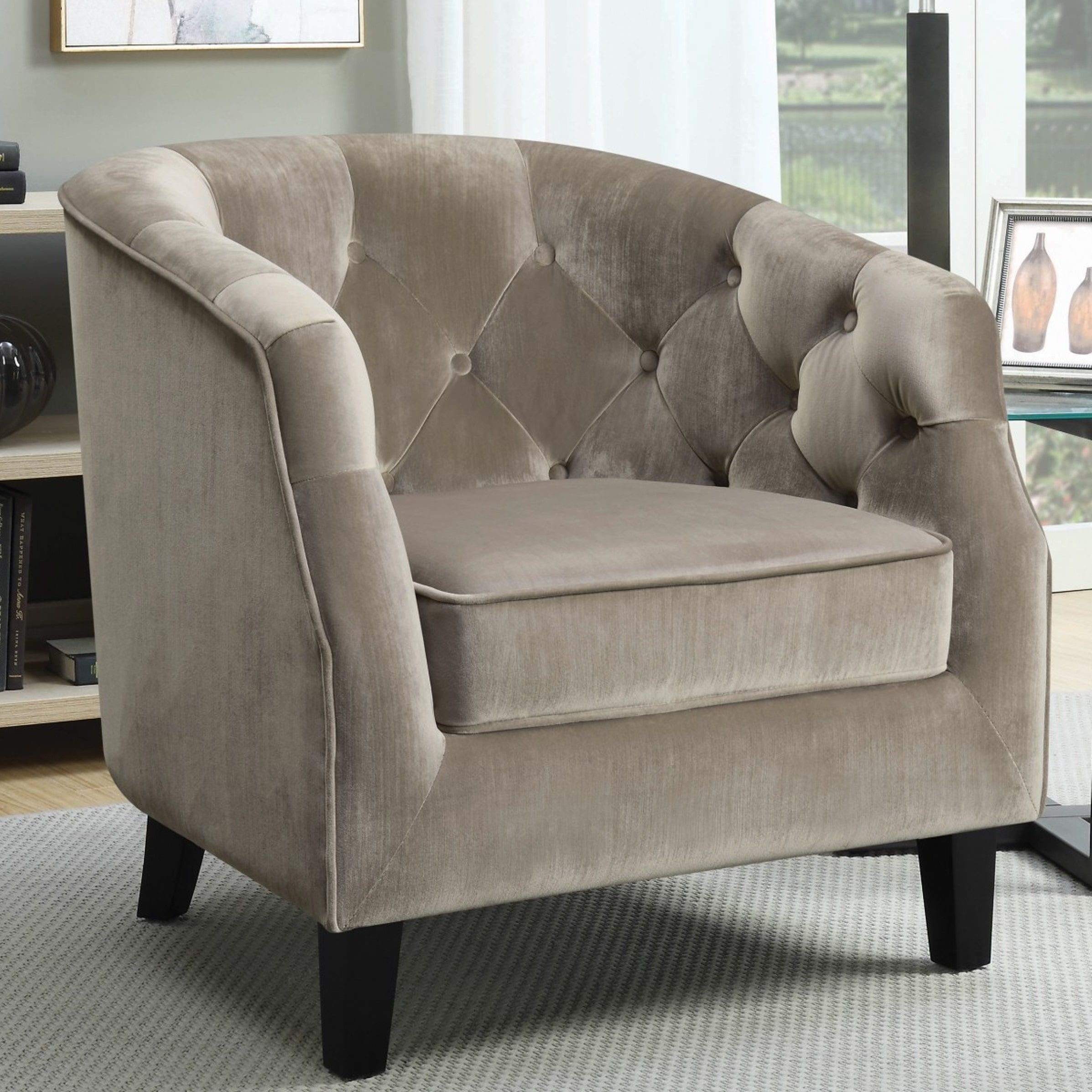 Groovy Contemporary Barrel Style Button Tufted Taupe Velvet Accent Bralicious Painted Fabric Chair Ideas Braliciousco