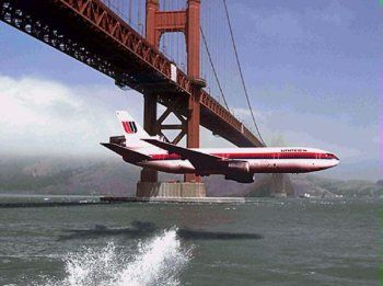 DC-10 flies under Golden Gate Bridge SF