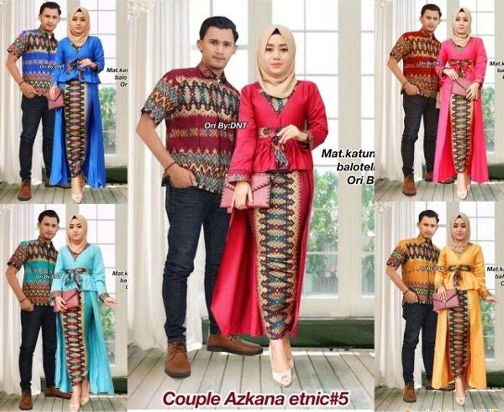 Trend Model Baju Batik Couple Sarimbit Anak Muda 2018 Couple Azkana Etnik 39371eb7f5