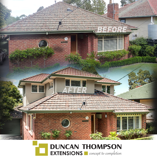 before after double storey extension red brick house in melbourne duncan thompson extensions - Home Extensions Melbourne