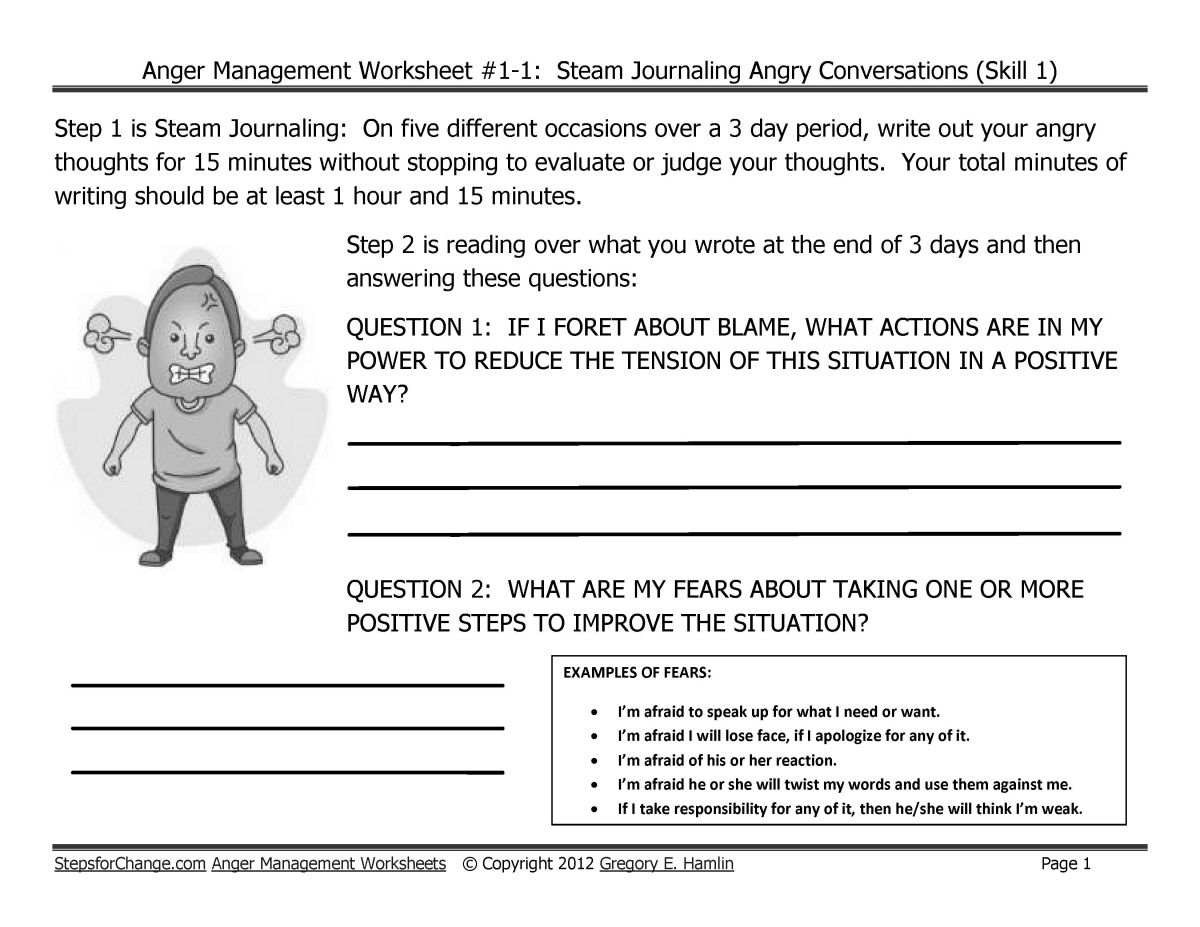Worksheets Anger Management Therapy Worksheets skill 1 anger management techniques such as steam journaling work stress draft and worksheets journaling