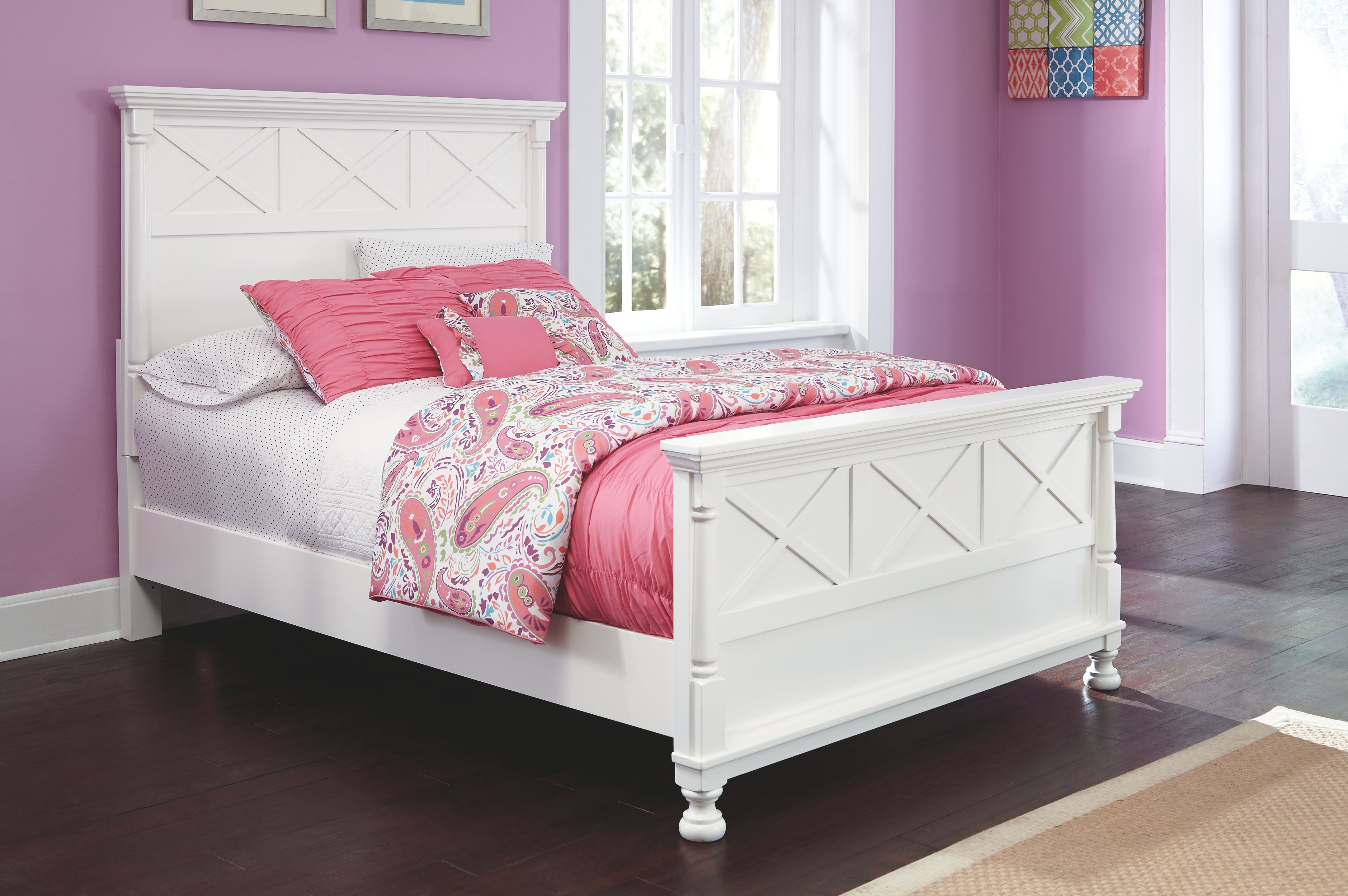 Kaslyn Full Panel Bed, White Panel bed, Bed, Bed furniture