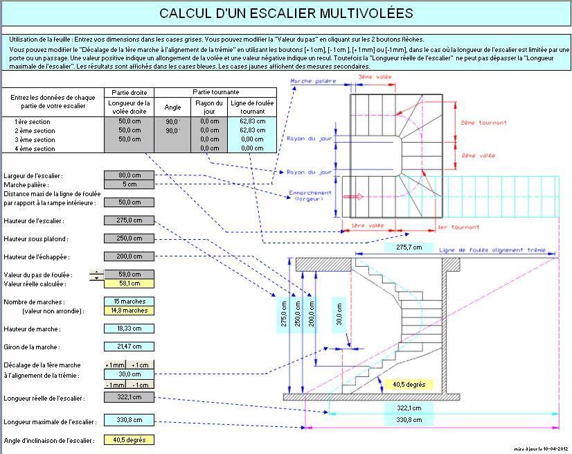 Exceptionnel Calcul d'un escalier multi-volées | furniture design tools  AT64