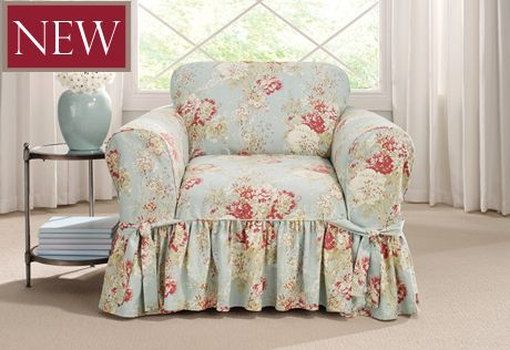 Ballad Bouquet By Waverly One Piece Chair Slipcover In