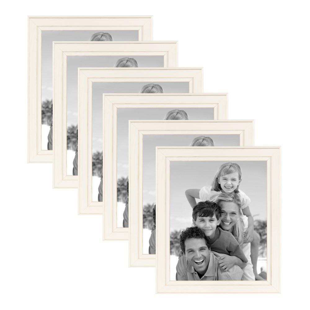 Designovation Kieva 8 In X 10 In Distressed White Picture Frame Set Of 6 Picture Frame Sets White Picture Frames Wood Picture Frames