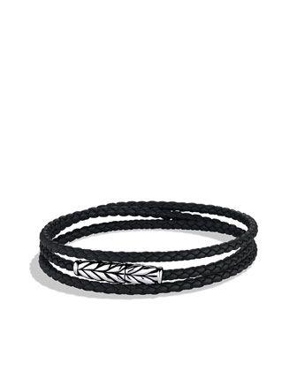 David Yurman Chevron Triple-Wrap Bracelet in Black