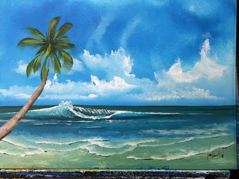 119 How To Paint The Ocean With A Palm For Beginners Acrylic Youtube Landscape Painting Tutorial Wave Painting Seascape Paintings