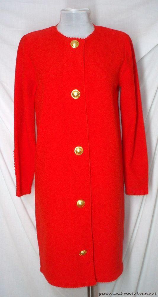48079e1c46e Steve Fabrikant Saks Fifth Avenue Red Sweater Dress Sz S Gold Buttons  L Sleeves  SteveFabrikant  SweaterDress  WeartoWork