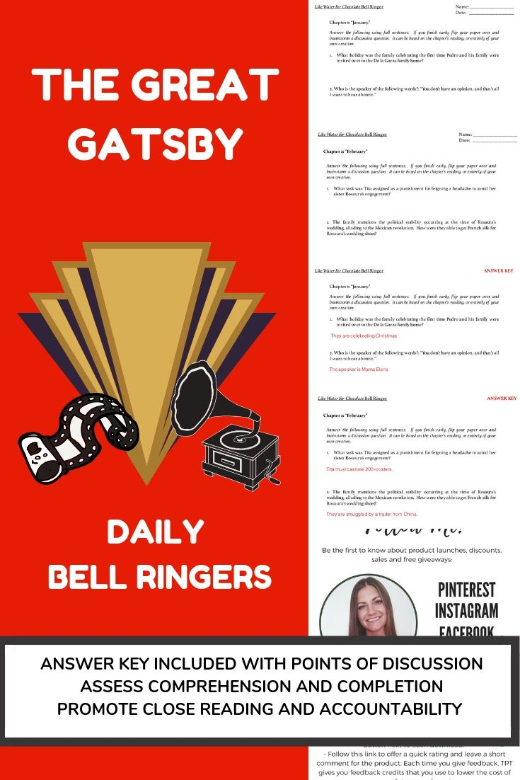 The GREAT GATSBY | Daily Chapter-by-Chapter BELL RINGER Assessments