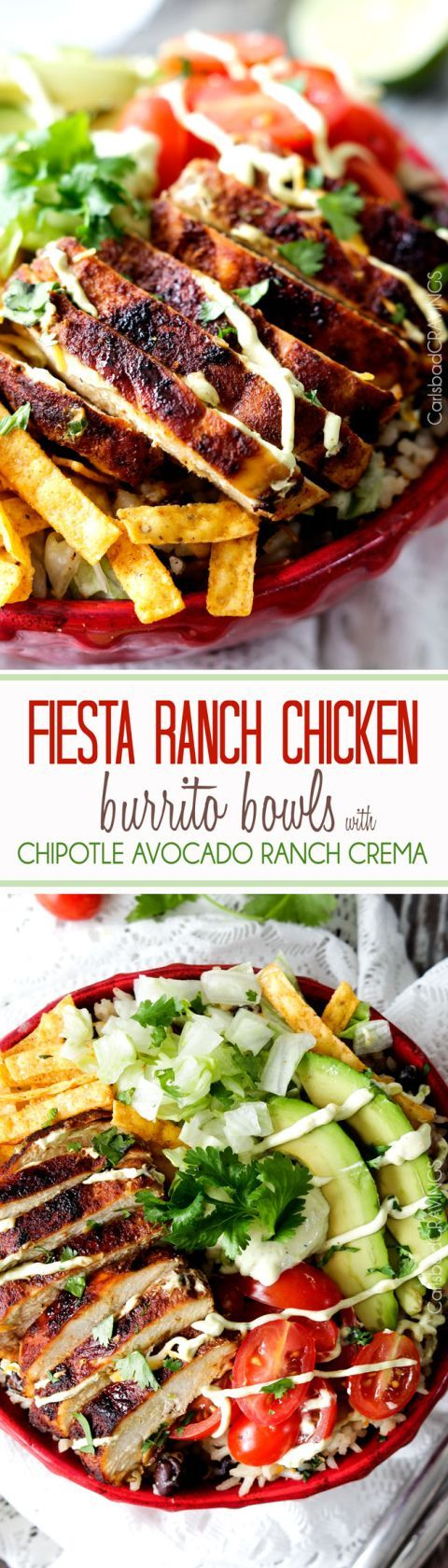 Ranch Chicken Burrito Bowls piled with tender, marinated fiesta ranch chicken, cheesy one pot cilantro lime rice with black beans, guilt free Chipotle Ranch Avocado Crema and all your favorite burrito fixins'. An easy, explosion of flavor!