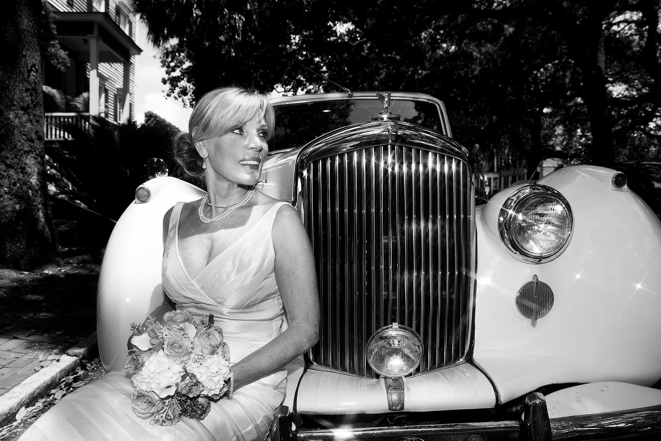 1950 Bentley, could not resist asking the bride to sit on the front bumper