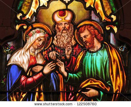 St joseph Stock Photos, St joseph Stock Photography, St joseph ...  Stained glass window depicting betrothal of Mary and Joseph