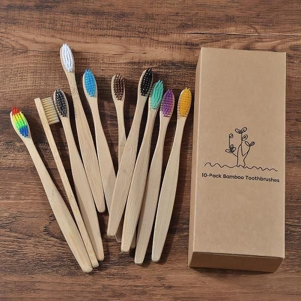 Mixed Colors Bamboo Toothbrush set - 10 Piece Color Mix