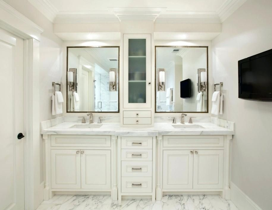 Image Result For 72 Inch Double Vanity With Center Tower Cabinet
