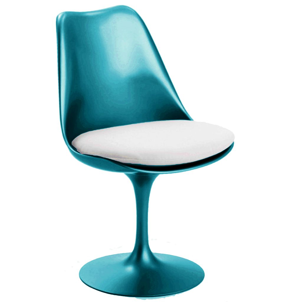 Silla tulip colores high gloss turquesa perlado for Sillas comedor turquesa