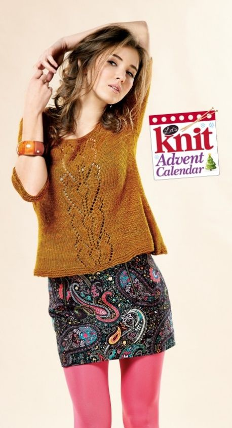 No Sew Lace Sweater - free knitting pattern download from the Let s Knit  Advent Calendar! US 4 Needles a49c2998ab3