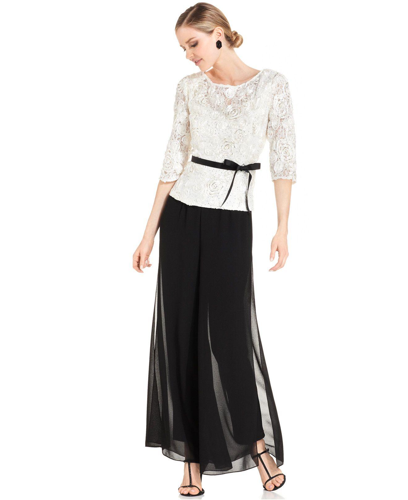 80f5b2321c0 Alex Evenings Lace Top   Wide-Leg Chiffon Pants - Tops - Women - Macy s