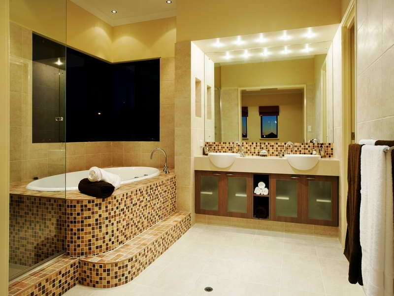 Bathroom Beautiful Yellow Wall Color Restroom Ideas With Twin White ...