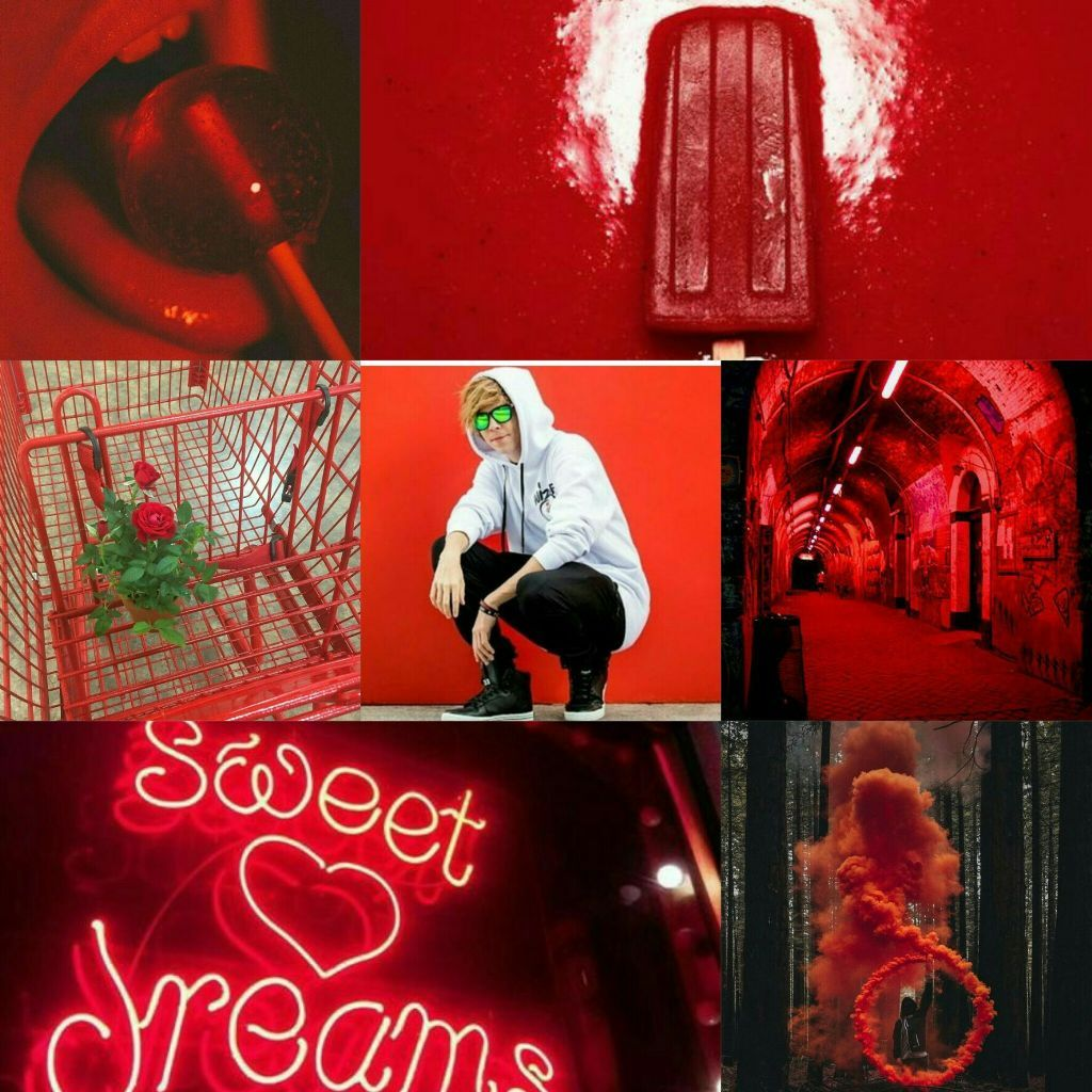 Rubius Aesthetic Red Tumblr Collage In 2020 Music Collage Popular Music Artists Music Stickers