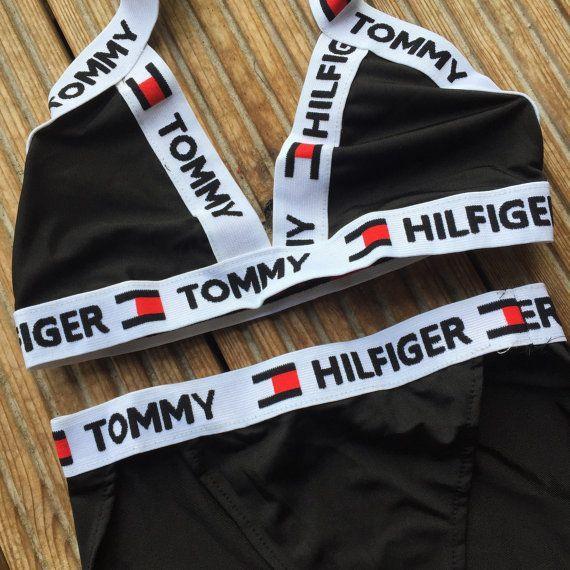 reworked tommy hilfiger cross over logo bikini set in. Black Bedroom Furniture Sets. Home Design Ideas