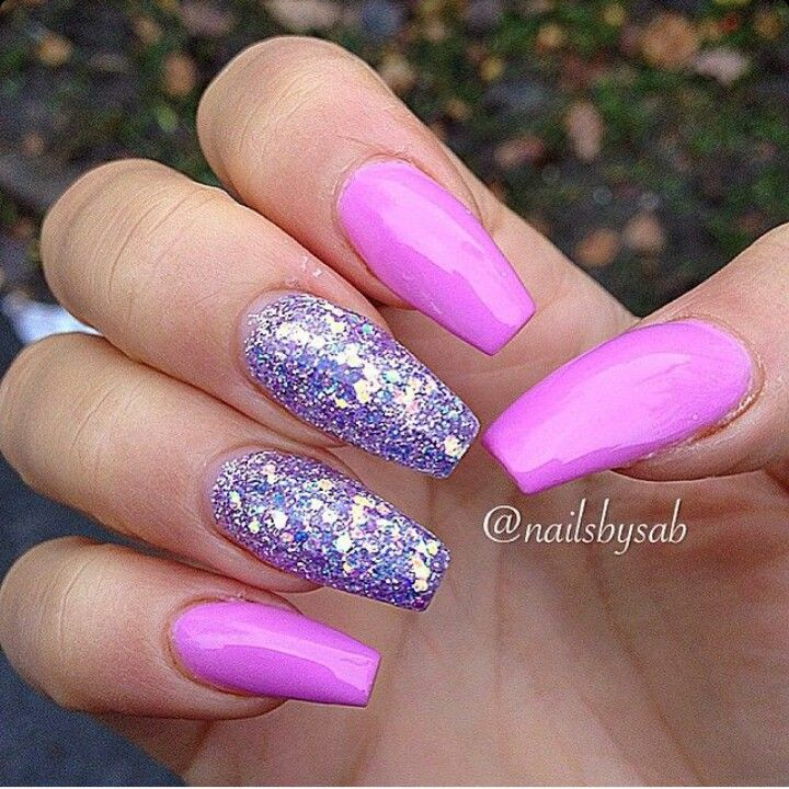 Neon Purple Square Tip Acrylic Nails w/ Purple Glitter ...