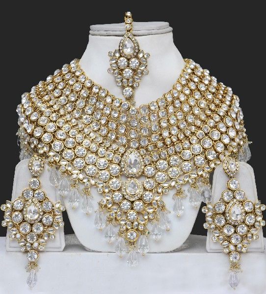 clear artificial heavy bridal jewellery sets