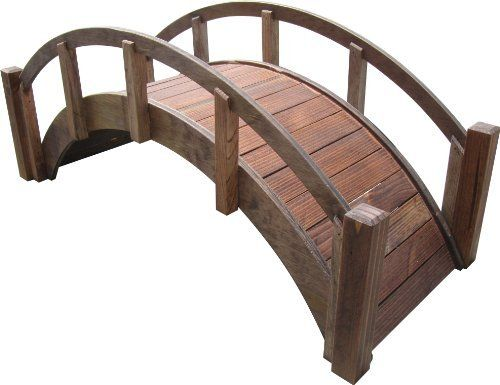 """SamsGazebos Decorative Japanese Wood Garden Bridge,Treated, Assembled, 29"""" Long X 12-1/2"""" Tall X 12-1/8"""" Wide, Made in USA by SamsGazebos. $99.95. Gracefully arched wood garden bridges for any yard.. Shipped assembled and great gift ideas.. Treated with oil based semi-transparent brown wood preservative, can be finished to your liking or left as is for a rustic look.. Made in the USA, superb craftsmanship, and labor of love.. For decorative use only.  (Footbridges are also a..."""