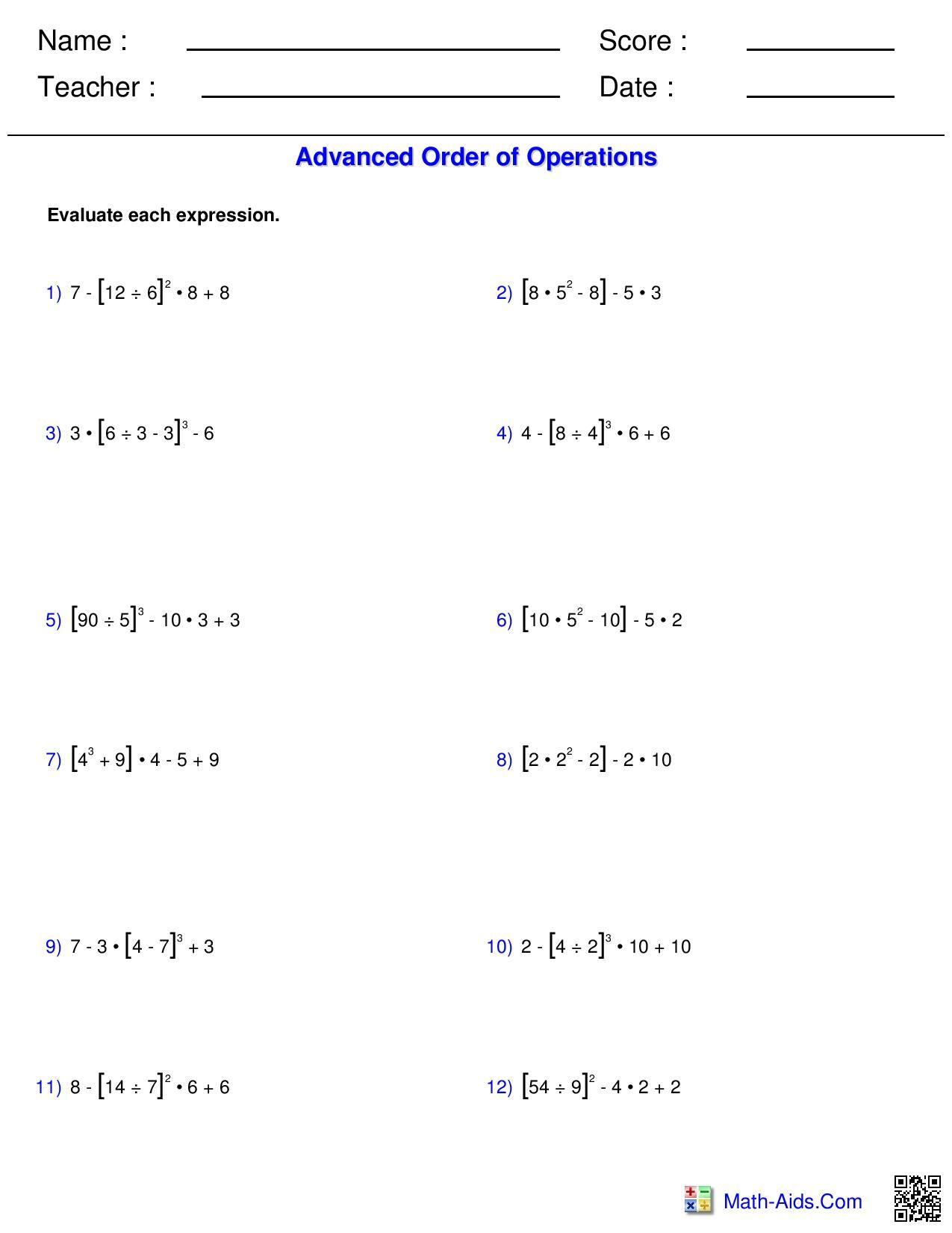 medium resolution of Pemdas Worksheets Printable   Printable Worksheets and Activities for  Teachers