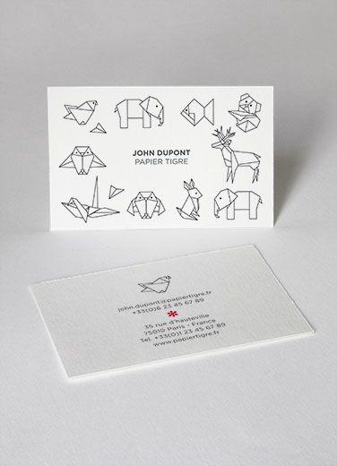 Business Cards Cartes De Visite Papier Tigre Customization Personnalisation Origami