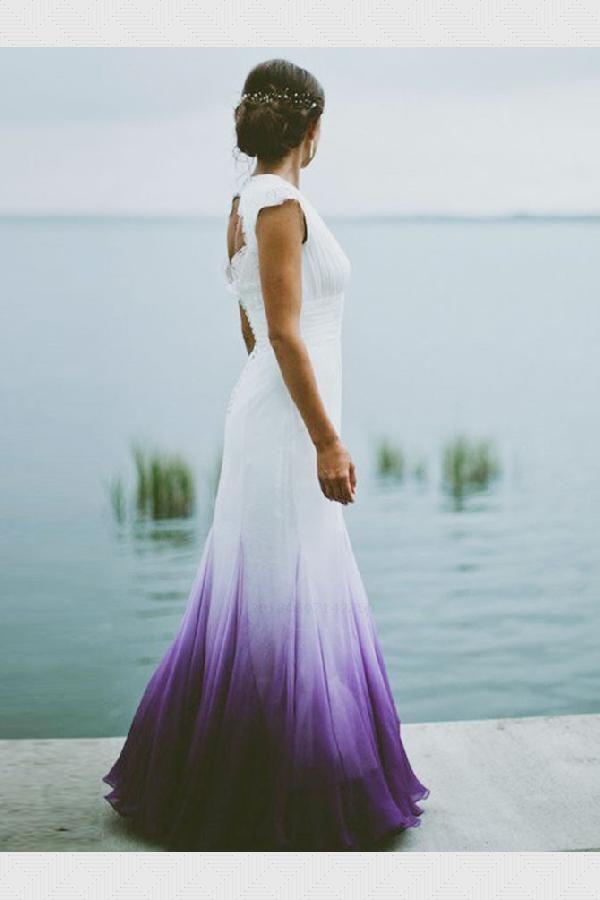 Hot Sale Colorful Mermaid Wedding Dress Open Back Wedding Dress