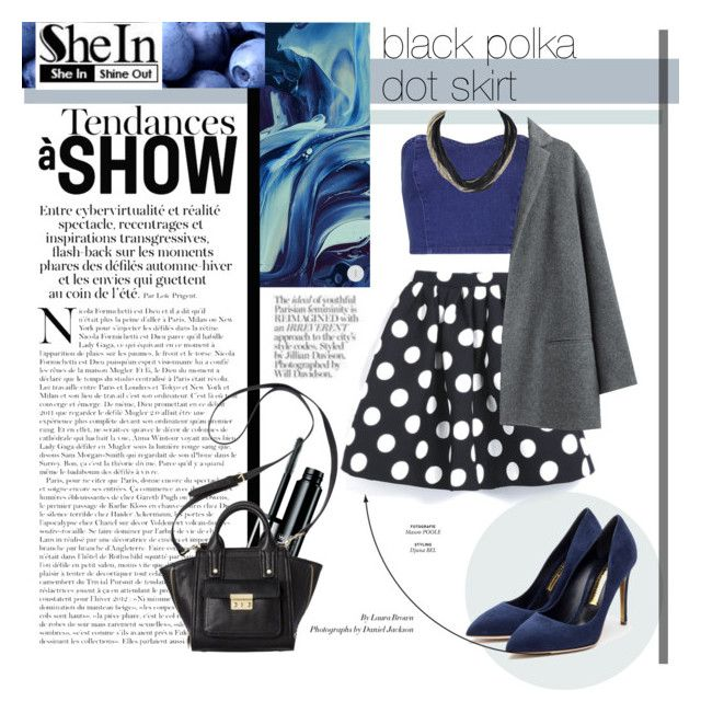 """black polka dot skirt"" by kristinafix ❤ liked on Polyvore featuring moda, Topshop, Clinique, 3.1 Phillip Lim, Organic by John Patrick i Rupert Sanderson"