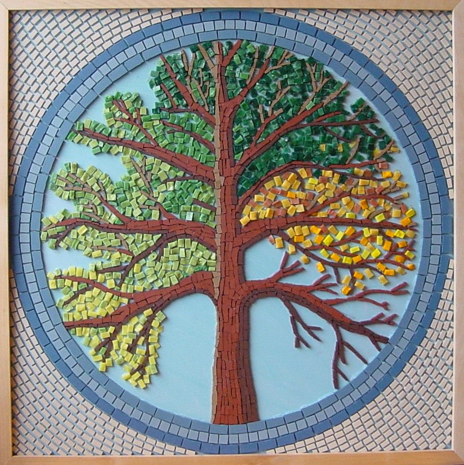 Sold custom made butterfly mosaic table top for mary ann in texas - Tree Of Seasons Mosaic Purchases Of My Mosaics Can Be Made Via My Website Www