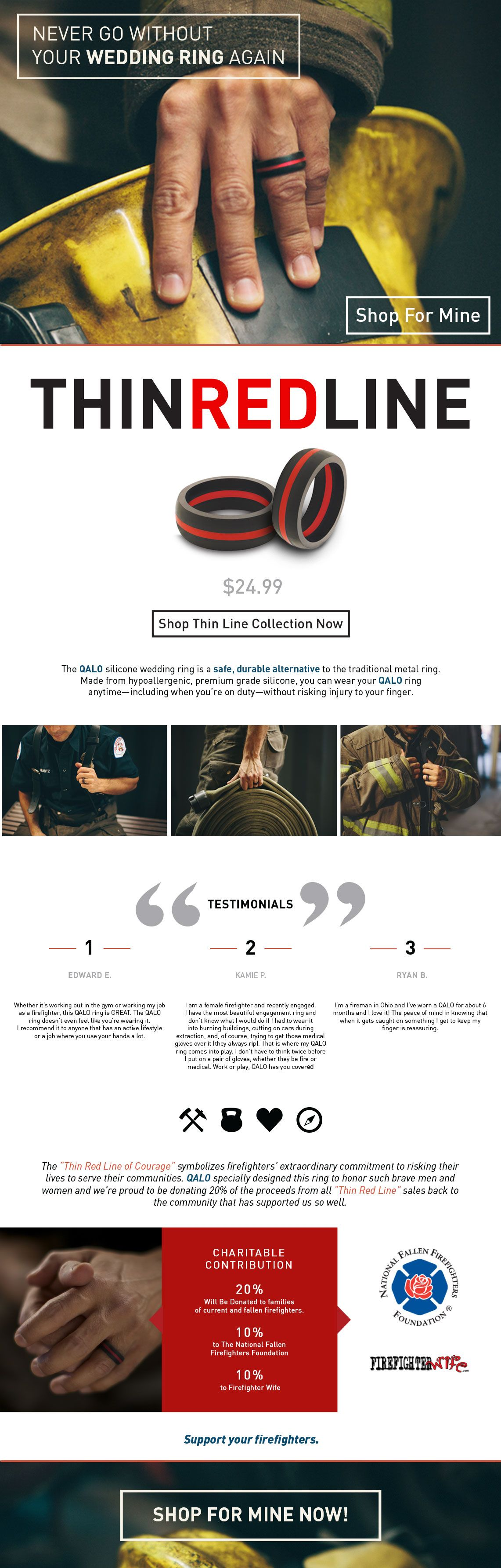 mens firefighter wedding bands Wedding band Ryan could actually wear at work and they donate the profits to the Natl Fallen Firefighters Foundation Thin Red Line Silicone Wedding Ring
